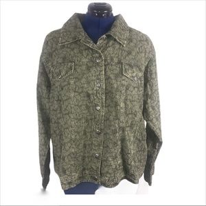 Tantrums 2X green embroidered lightweight jacket